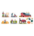 cartoon eco farming agricultural workers doing vector image