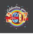 Celebrating 2017 Colorful Rainbow vector image vector image