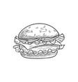 cheeseburger sketch isolated hamburger burger vector image vector image
