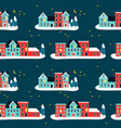 christmas houses on winter seamless pattern vector image vector image