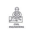 civil engineering line icon sign vector image vector image