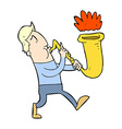 comic cartoon man blowing saxophone vector image vector image