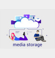 computer device data cloud storage security flat vector image vector image