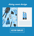 cover design for print with diving equipment vector image