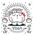 cute cartoon cat girl relax with yoga vector image vector image