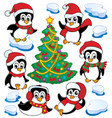 cute penguins collection 4 vector image