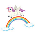 cute purple unicorn in flying on rainbow position vector image vector image
