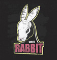 dark grunge poster with white rabbit vector image vector image