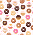 Donuts and little hearts seamless pattern vector image vector image