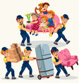 family moving colorful set vector image