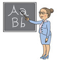female teacher near blackboard vector image