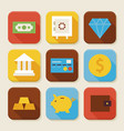 Flat Finance and Banking Squared App Icons Set vector image