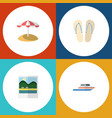 flat icon beach set of boat reminders parasol vector image vector image