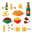 flat mug bottle golden beer foam snack set vector image vector image