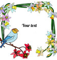 frame of narcissus with bird vector image vector image