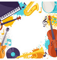 frame with musical instruments jazz music vector image vector image