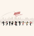 group of young people dancing swing lindy or vector image