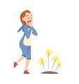happy girl enjoying fireworks show teenager vector image vector image