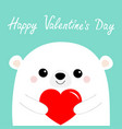 happy valentines day white bear head face holding vector image