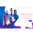 isometric man and woman engaged in online analytic vector image vector image
