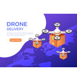 isometric web banner drone flying over world vector image vector image