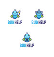 mascot logos set with funny abstract bugs vector image