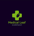 medical leaf logo vector image vector image