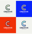 minimal line letter initial c logo design vector image