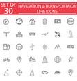 navigation line icon set transport signs vector image