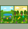 picnic and activity in park green nature vector image vector image