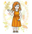 pretty little redhead girl standing on background vector image