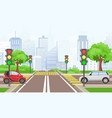 road cross with cars in the vector image vector image
