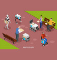 robotic delivery isometric composition vector image vector image