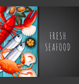 seafood on restaurant template vector image