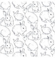 seamless pattern with hand drawn rabbits vector image vector image