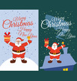 set cards santa claus standing in the snow gifts vector image vector image