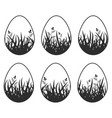 set of black silhouettes isolated easter eggs on vector image
