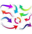 set of curved colorful arrows vector image vector image