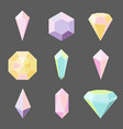set of glass crystals and gemstones vector image