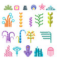 set underwater plants vector image