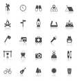 Trekking icons with reflect on white background vector image vector image