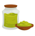 wasabi in pot with cap spicy asian product vector image