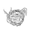 witching wreath with horns skull hat candles vector image vector image