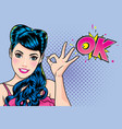 woman finger okay gesture action vector image