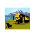Fly fisherman fishing mountains camper van vector image