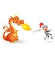 Cartoon of a knight running from a fierce dragon vector image
