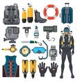 Scuba diving equipment accessories collection vector image