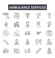 ambulance services line icons signs set vector image vector image