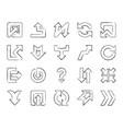 arrow charcoal hand draw line icons set vector image