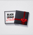 black friday saleopen black gift box with red bow vector image vector image